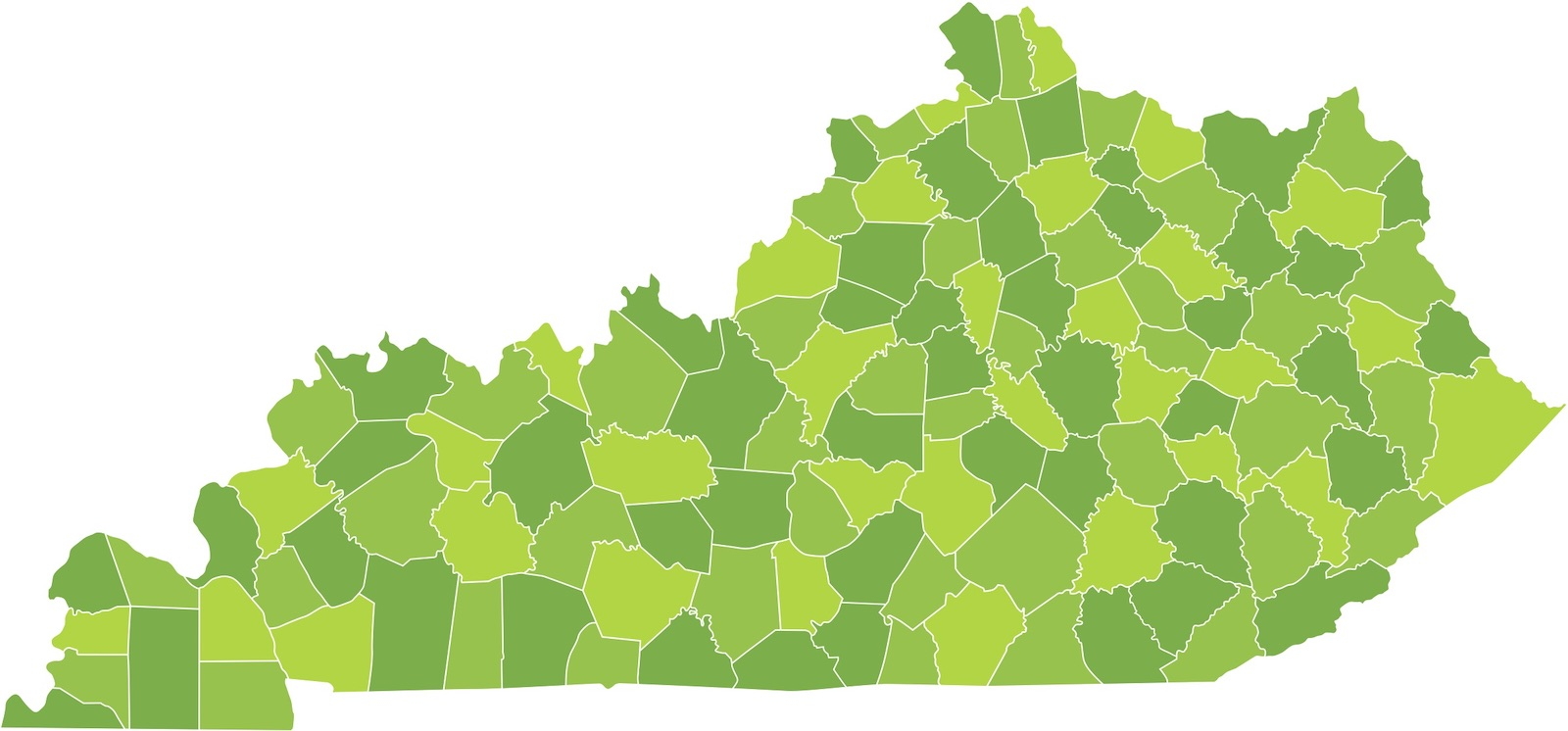 Map of Kentucky by counties with different shades of green for each county